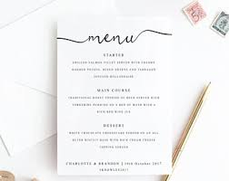 wedding menu cards etsy