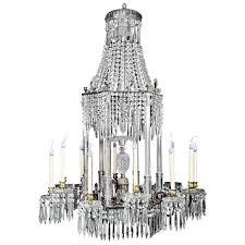 Crystal And Bronze Chandelier Large Antique English Regency Cut Crystal And Bronze Chandelier
