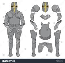medieval templar knight armor set helmet stock vector 239118901