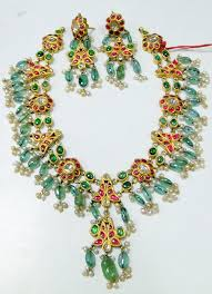 vintage necklace sets images Vintage antique 20 ct gold polki diamond necklace set kundan meena JPG