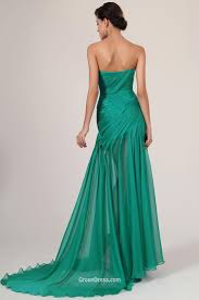 emerald green chiffon sweetheart strapless slit long prom dress