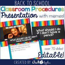 Editable Memes - classroom procedures powerpoint with memes editable by chalk