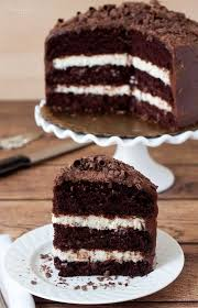 triple layer chocolate cake with a coconut cream cheese filling