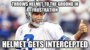 Romo Interception Meme - throws helmet to the ground in frustration helmet gets intercepted