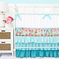Roses Crib Bedding Funky Pink Aqua Baby Bedding Baby Bedding Crib Bedding