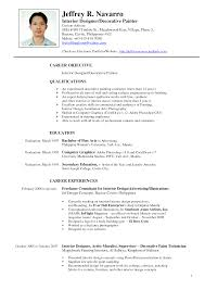Curriculum Vitae Samples Pdf For Freshers by Resume Format For Interior Designer For Freshers Resume Format