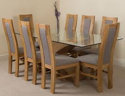 Light Oak Dining Chairs Valencia Oak 200cm Wood And Glass Dining Table With 8 Stanford