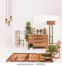 living room wood furniture natural wood furniture white wall decor stock photo 518552563