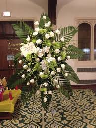 Traditional Flower Arrangement - traditional style funeral floral arrangement designed by asia