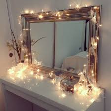 my vanity setup ikea vanity decorated with christmas lights and
