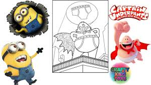 despicable me minions captain underpants coloring pages for kids