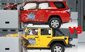 jeep toyota crash test 2015 jeep wrangler vs toyota 4runner youtube