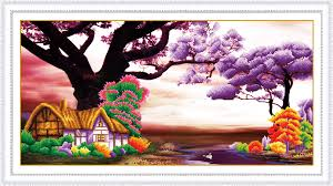 european style house diamond painting 5d new style european style house purple bedroom