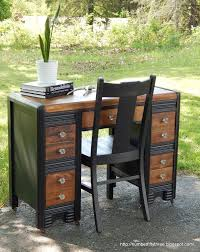 Refurbished End Tables by Painted U0026 Stained Waterfall Desk Desks Paint Furniture And