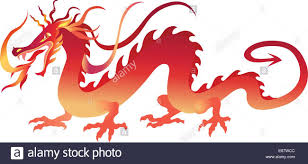 vector illustration of angry red chinese dragon in a tattoo