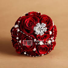 Discount Wedding Decorations Dark Red Wedding Bouquet With Pearl Cheap Wedding Decorations Foam