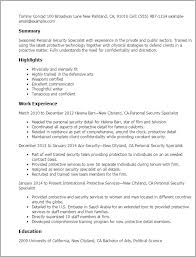 Personal Resume Template Professional Personnel Security Specialist Templates To Showcase