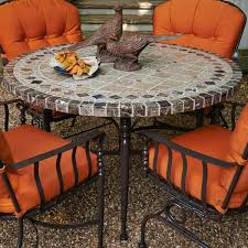 Mosaic Patio Table Top by Great Stone Topped Patio Furniture Also A Set Of Black Rattan