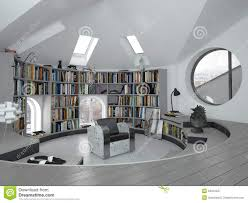 interior of curved modern home office or library stock