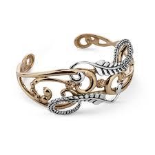bracelet leaf images Sterling silver brass leaf vine design cuff bracelet jpg