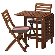 Wooden Table And Chairs Outdoor äpplarö Table And 2 Folding Chairs Outdoor äpplarö Brown