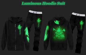 black skull graphic print luminous hoodie and pants twinset l