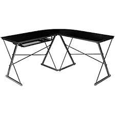 amazon com walker edison soreno 3 piece corner desk black with