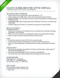 resume qualification sample sales clerk functional resume example