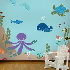 animal stencils for painting walls of kids room kids wall murals under the sea theme ocean wall mural stencil kit