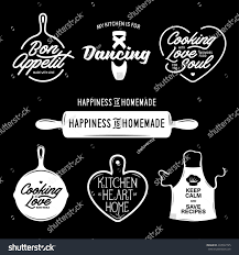 kitchen related typography set quotes about stock vector 433592725