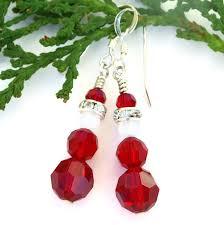 christmas earrings santa christmas earrings handmade swarovski