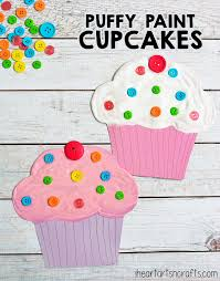 puffy paint cupcake craft for kids cupcake crafts puffy paint