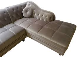 canap chesterfield angle canapé d angle droit empire velours taupe style chesterfield