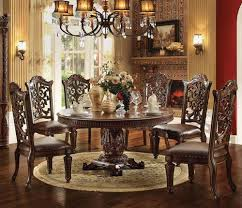 acme furniture vendome 7 piece round single pedestal table and