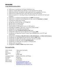 resume administrative skills system administrator cv