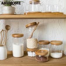 boite de cuisine verre bouteille de stockage de nourriture en caoutchouc couvercle