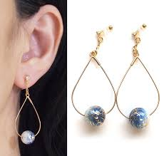 clip on earring dangle japanese arabesque clip on earrings hoop blue foliage