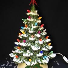 ceramic christmas tree with lights tabletop ceramic christmas tree snow tipped branches 16 inch