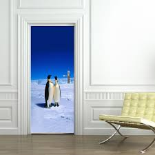 free shipping 3d north pole penguins door wall stickers bedroom