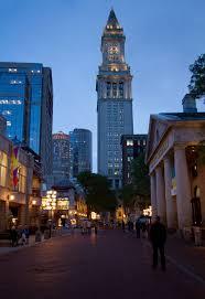 quincy market and custom house tower in boston massachusetts