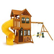 playground wood swing set cedar playset outdoor backyard play pics
