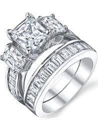 4 carat cubic zirconia engagement rings sterling silver 3 carat princess cut cubic zirconia cz