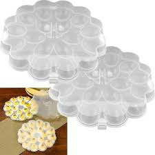 deviled egg tray with cover trademark global set of 2 deviled egg trays w snap on lids