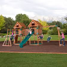 Backyard Playground Slides by Amazon Com Backyard Discovery Kings Peak All Cedar Wood Playset