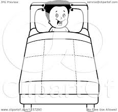 cartoon clipart of a black and white happy black tucked into