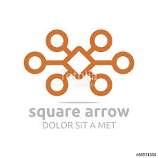 logo design square circle arrow letter x brown connecting icon