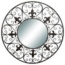 Fleur De Lis Wall Sconce Round Wall Mirror Fleur De Lis Metal Black Decor Traditional