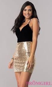black and gold dress black party dress with gold sequin skirt promgirl