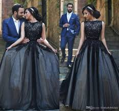 gothic wedding dresses 2016 lace appliques boat neck black bridal
