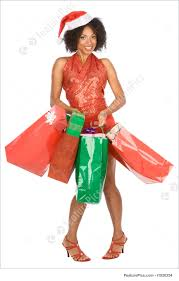 christmas shopping ethnic woman with lot of gift image